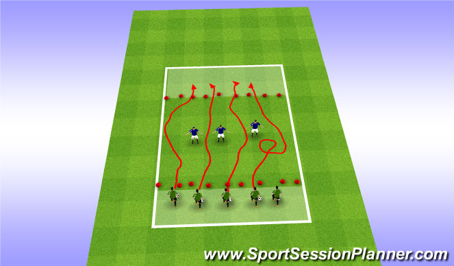 Football/Soccer Session Plan Drill (Colour): U7-Dribble :  Cross the River