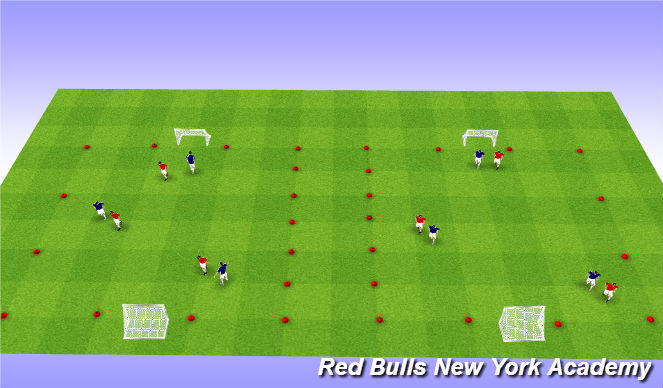 Football/Soccer Session Plan Drill (Colour): 3v3 Tournament, 2 Touch