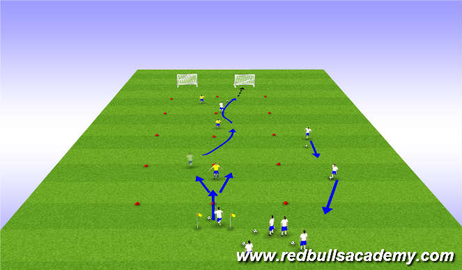 Football/Soccer Session Plan Drill (Colour): Main Theme 2 - Opposed