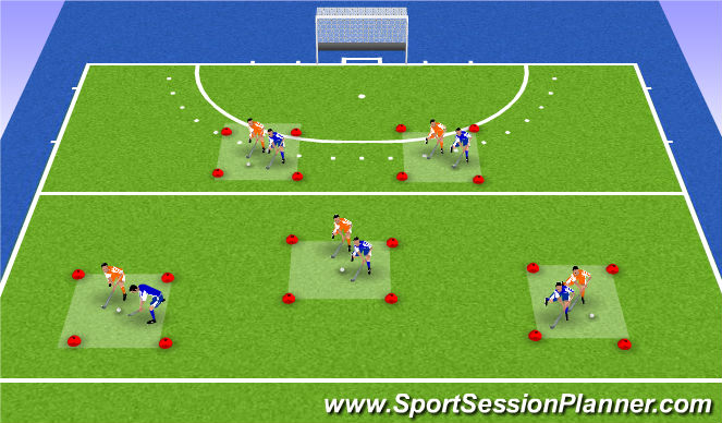 Hockey Session Plan Drill (Colour): 1v1 possession
