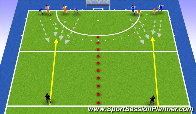Hockey Session Plan Drill (Colour): 2v2 long balls