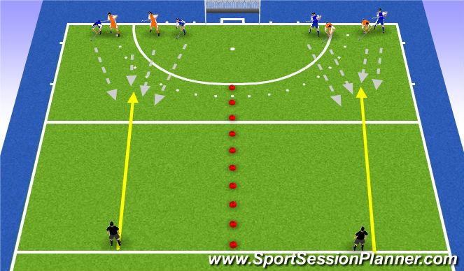 Hockey Session Plan Drill (Colour): 2v2 long balls