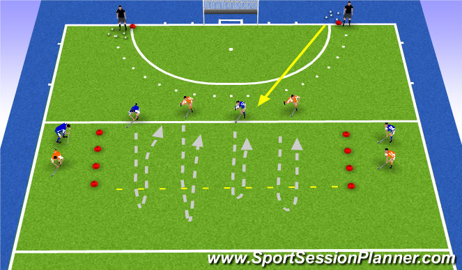 Hockey Session Plan Drill (Colour): 2v2 front ball