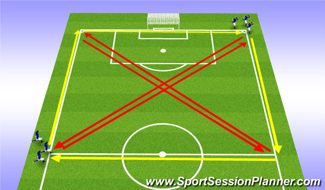 Football/Soccer Session Plan Drill (Colour): Fitness: middle distance conditioning