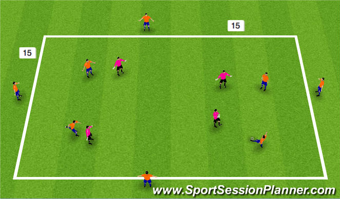 Football/Soccer Session Plan Drill (Colour): 8 v 4 posession