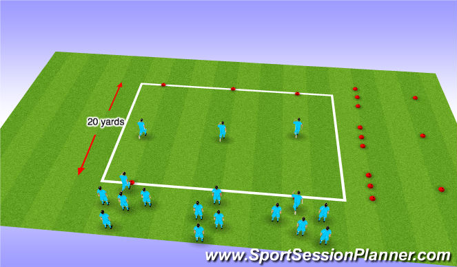 Football/Soccer Session Plan Drill (Colour): Warm Up - Dynamic and Static