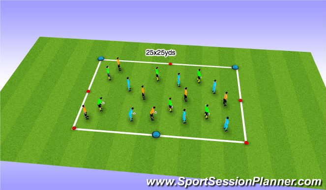 Football/Soccer Session Plan Drill (Colour): Warm Up - Sequence Passing