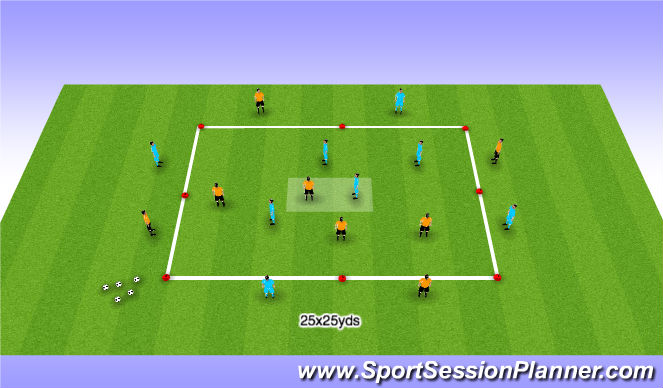 Football/Soccer Session Plan Drill (Colour): Possession 2 - Striker/CM