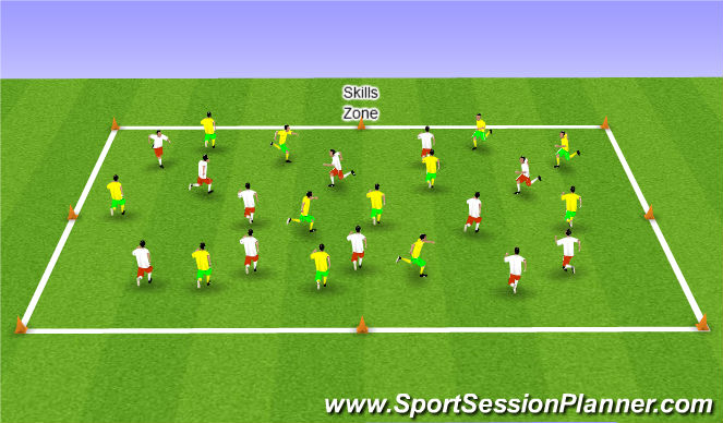 Football/Soccer Session Plan Drill (Colour): Skills Zone