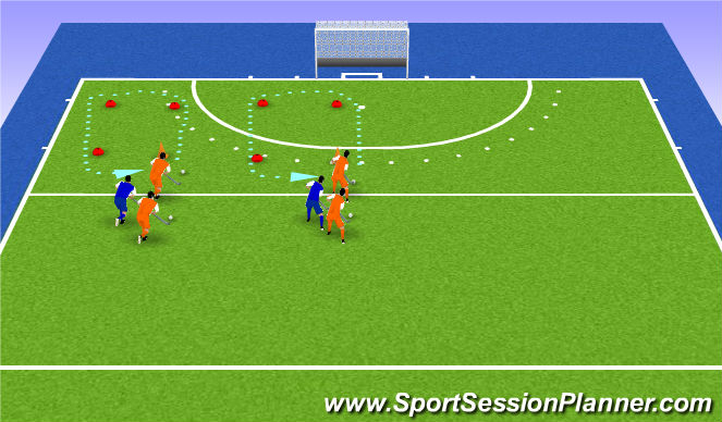 Hockey Session Plan Drill (Colour): drijven
