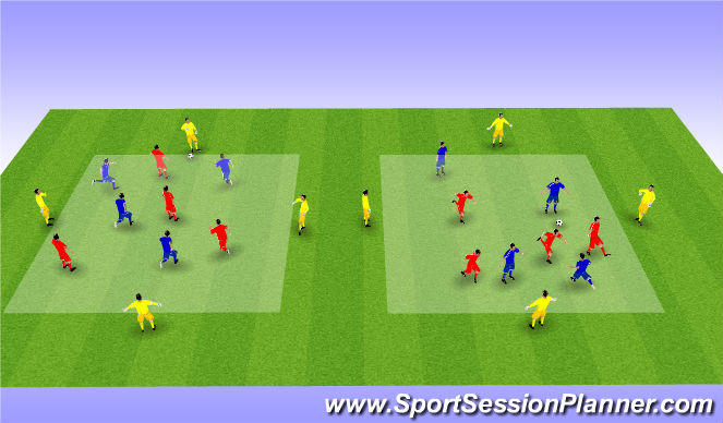 Football/Soccer Session Plan Drill (Colour): 8v4 Including 4 Neutrals