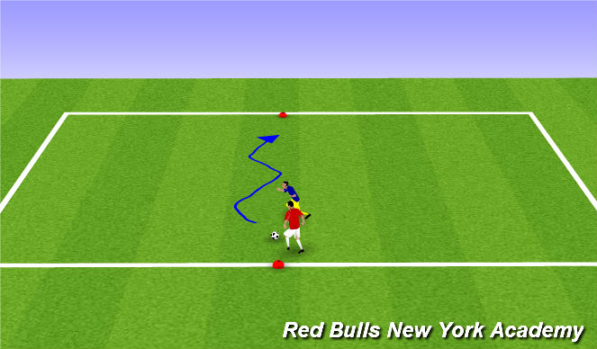 Football/Soccer Session Plan Drill (Colour): Pressure - semi-opposed