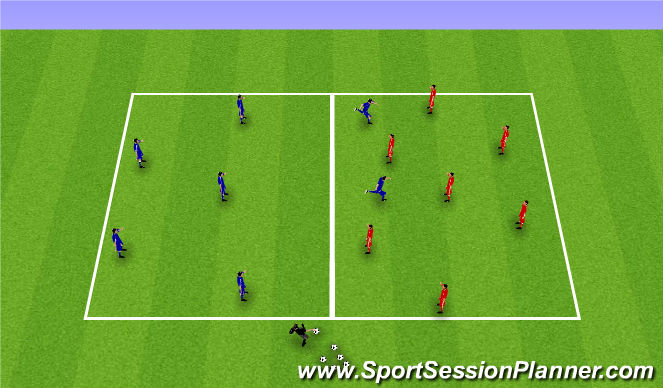 Football/Soccer Session Plan Drill (Colour): 7v7 Possession w/ transition