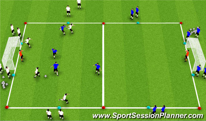 Football/Soccer Session Plan Drill (Colour): Flying Changes 4v4+GKs