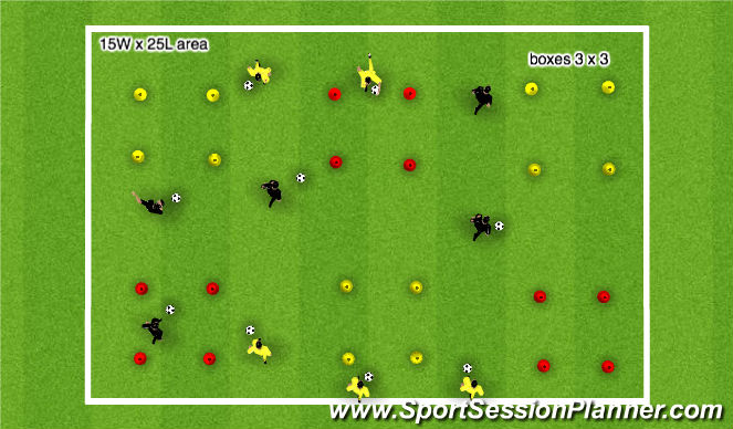 Football/Soccer Session Plan Drill (Colour): Physical movement with the ball