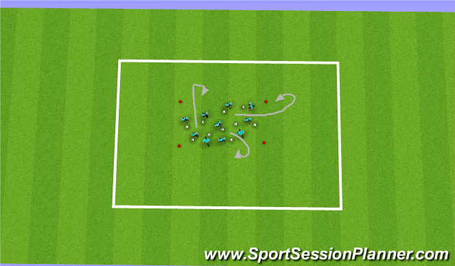 Football/Soccer Session Plan Drill (Colour): Warm Up Progression