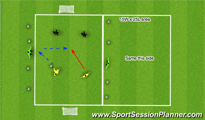 Football/Soccer Session Plan Drill (Colour): 2 v 2 + 2
