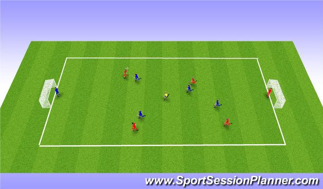 Football/Soccer Session Plan Drill (Colour): SSG 5v5 plus 1