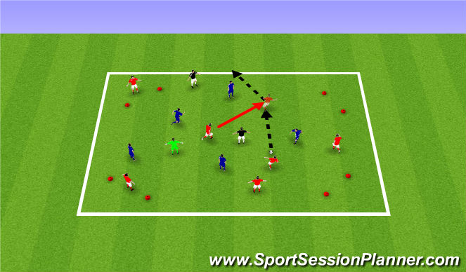 Football/Soccer Session Plan Drill (Colour): 4 Goal Warm Up Game