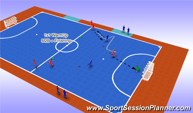 Futsal Session Plan Drill (Colour): 1v1s
