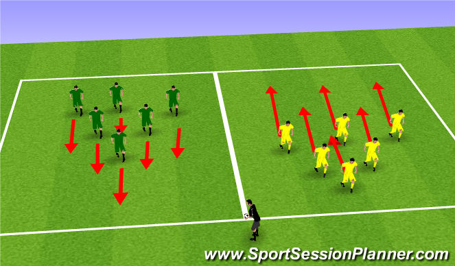Football/Soccer Session Plan Drill (Colour): Stage 2 - team defensive shifts