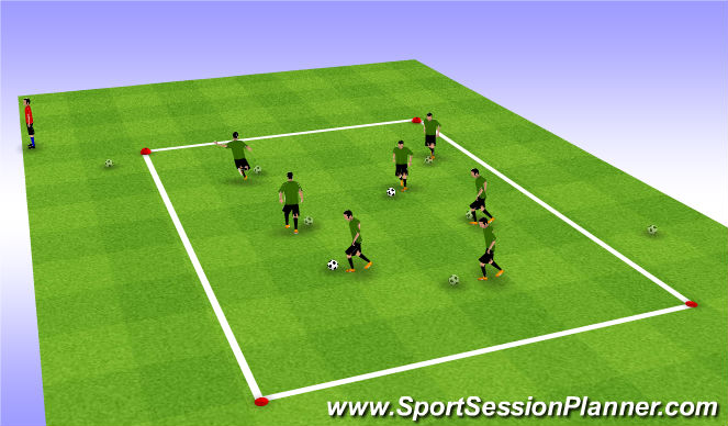 Football/Soccer Session Plan Drill (Colour): U7-Dribble : Warmup
