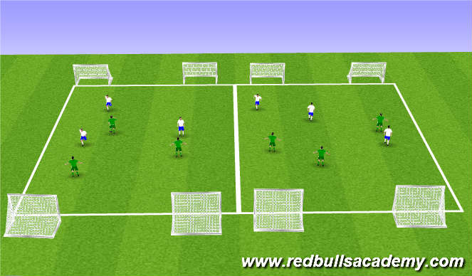 Football/Soccer Session Plan Drill (Colour): Conditioned 3v3
