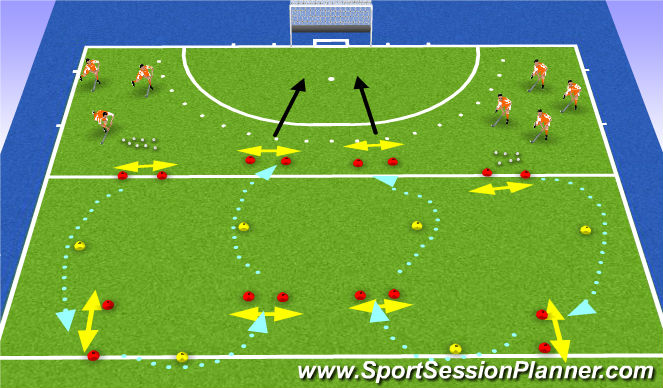 Hockey Session Plan Drill (Colour): carrying warm up