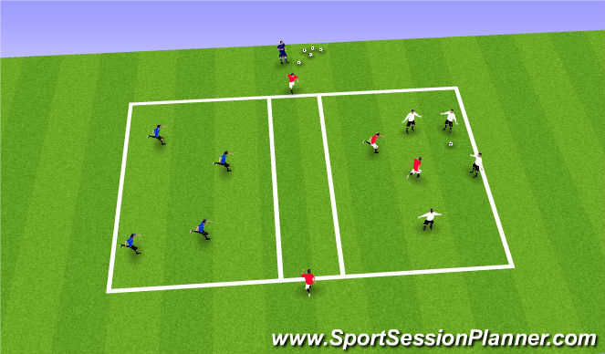 Football/Soccer Session Plan Drill (Colour): Warm-Up: 3 Square