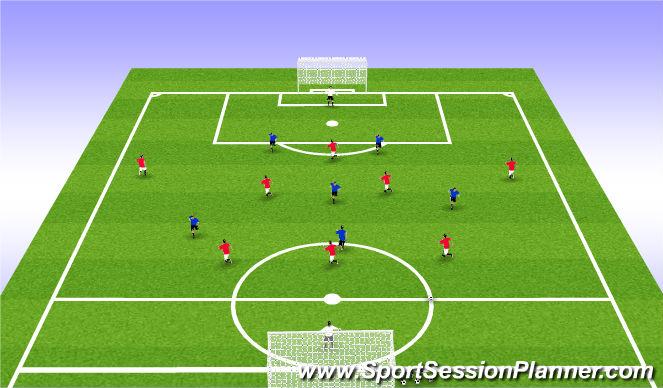 Football/Soccer Session Plan Drill (Colour): 8v6: Press