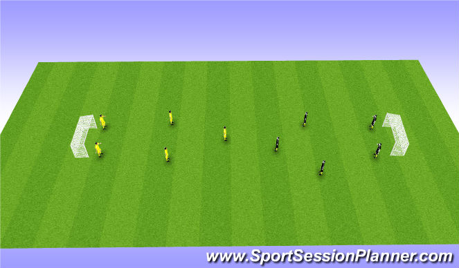 Football/Soccer Session Plan Drill (Colour): 3v3-2