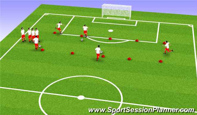 Football/Soccer Session Plan Drill (Colour): Warmup With the Ball