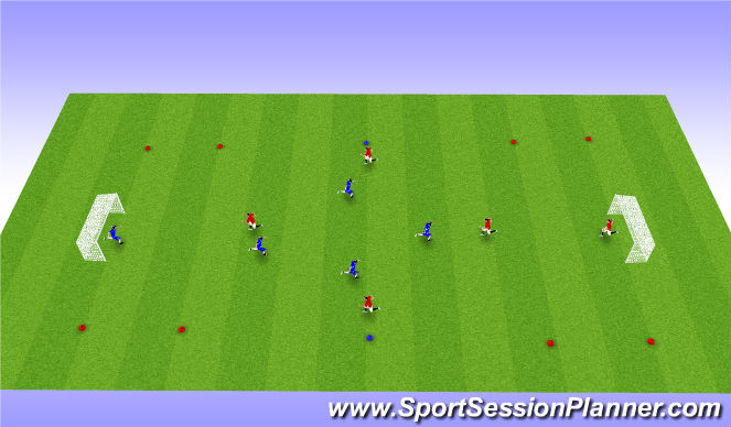 Football/Soccer Session Plan Drill (Colour): 4vs 4