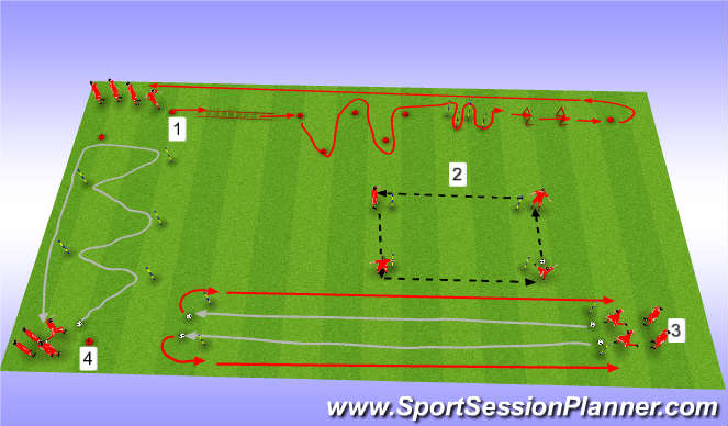 Football/Soccer Session Plan Drill (Colour): Fitness Circuit with football