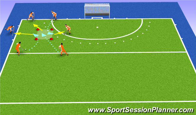 Hockey Session Plan Drill (Colour): wie naar wie?