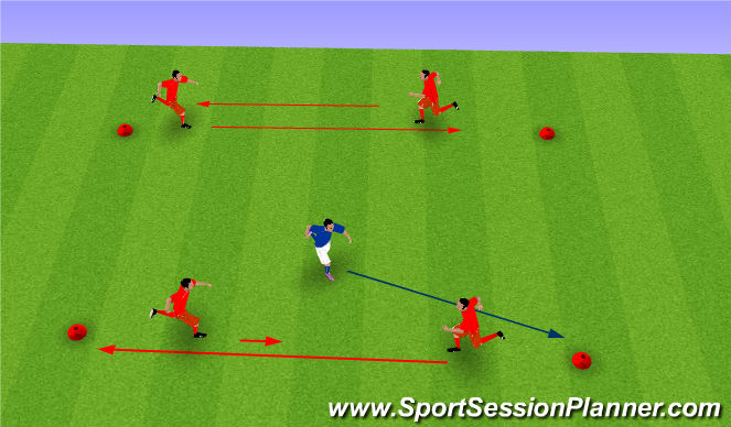 Football/Soccer Session Plan Drill (Colour): Four Square
