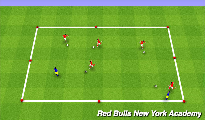Football/Soccer Session Plan Drill (Colour): Inside cut shileding