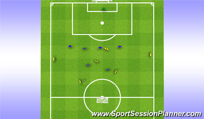 Football/Soccer Session Plan Drill (Colour): 6 (3+3) V 6 (4+2)+GK