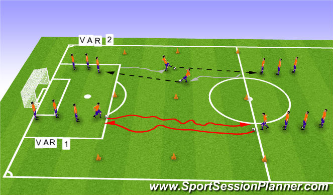 Football/Soccer Session Plan Drill (Colour): Cognitive warmup