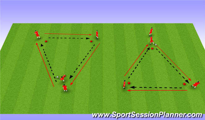 Football/Soccer Session Plan Drill (Colour): Passing&Receiving in triangles