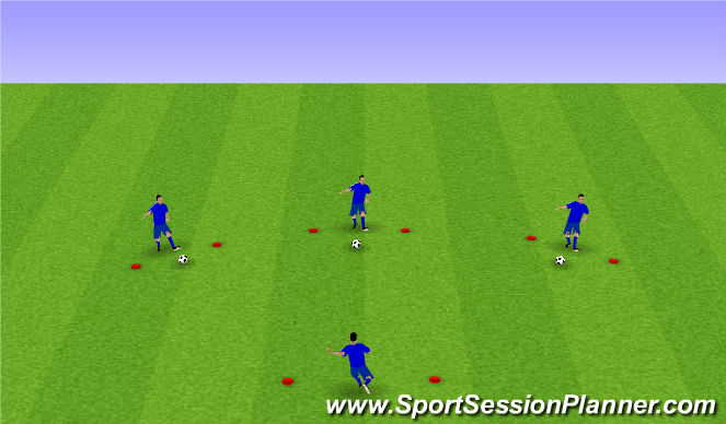 Football/Soccer Session Plan Drill (Colour): 3 balls