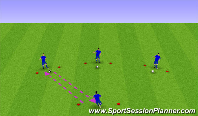 Football/Soccer Session Plan Drill (Colour): receive and return