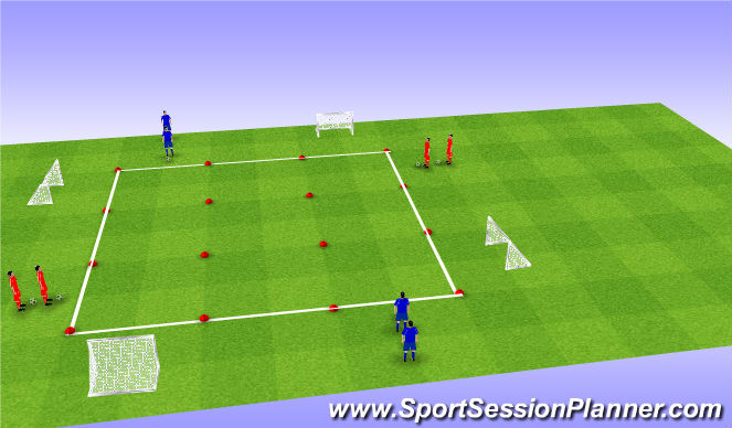 Football/Soccer Session Plan Drill (Colour): Matige weerstand (scoren) + spelvorm (punten uitdelen)