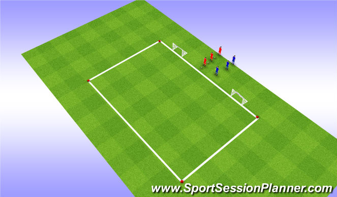 Football/Soccer Session Plan Drill (Colour): 1-tegen-1 & 2-tegen-2
