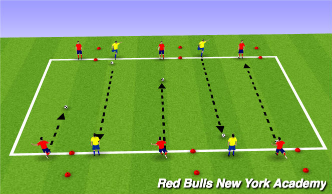 Football/Soccer Session Plan Drill (Colour): Lofted Passing Points Game