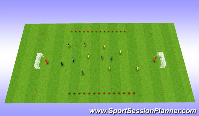 Football/Soccer Session Plan Drill (Colour): Scrimmage with 2 neutrals