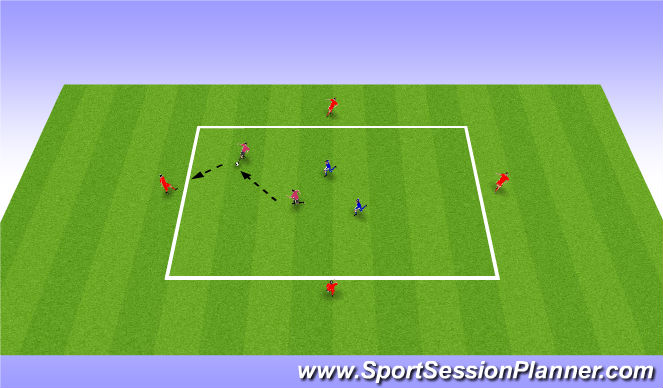 Football/Soccer Session Plan Drill (Colour): 2v2 (+4)