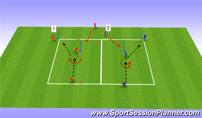 Football/Soccer Session Plan Drill (Colour): Over Shoulder