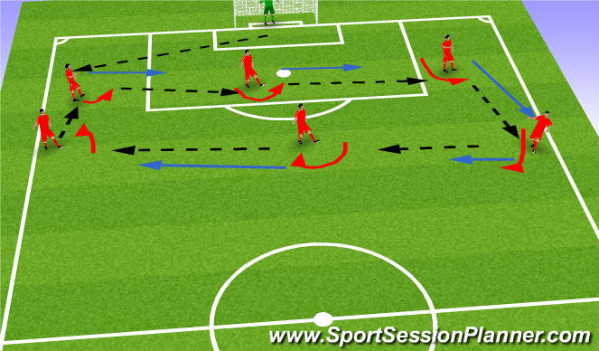 Football/Soccer Session Plan Drill (Colour): Pass / Move