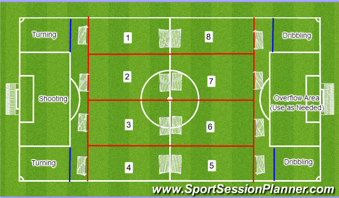 Football/Soccer Session Plan Drill (Colour): General Set-Up